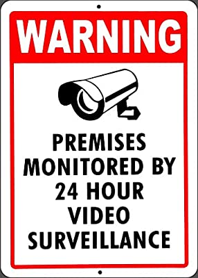 """CCTV security warning sign, Legend """" Warning This Area Under 24 Hour Video Surveillance sign"""", 10"""" x 14"""" - Aluminum"""