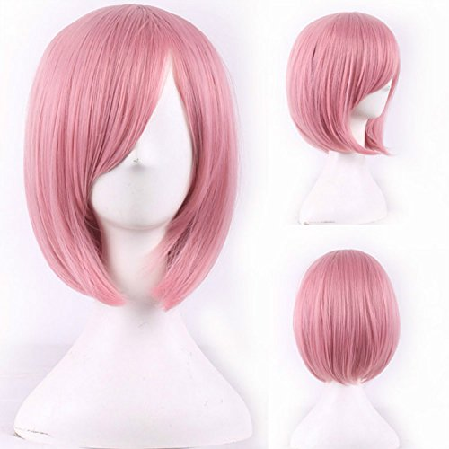 YX Women Bob Short Straight Pink Wig for Women Dance Party Sexy Synthetic Hair Wigs With bangs Anime Cosplay Wig