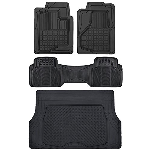 Motor Trend All Weather Semi-Custom Heavy Duty Rubber Floor Mats for Auto Car Truck SUV ... (2 Front, 1 Liner & Cargo Mat) (Nissan Rogue 2015 Mats compare prices)