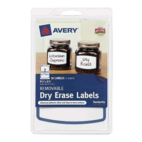 Avery Removable Dry Erase Labels, Blue Border, 3.75 X 2.5 Inches, Pack Of 10 (41450)