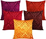 Xarans Velvet Floral Multi Cushion Cover Set Of 5 (40X40Cm)
