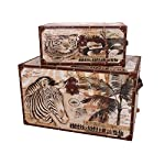 Household Essentials Animal Kingdom Storage Trunks (Set of 2), Jumbo/Medium, Brown