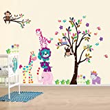 AY Wand Sticker Aufkleber Papier Kunst Dekoration Fröhliche Tiere Baum