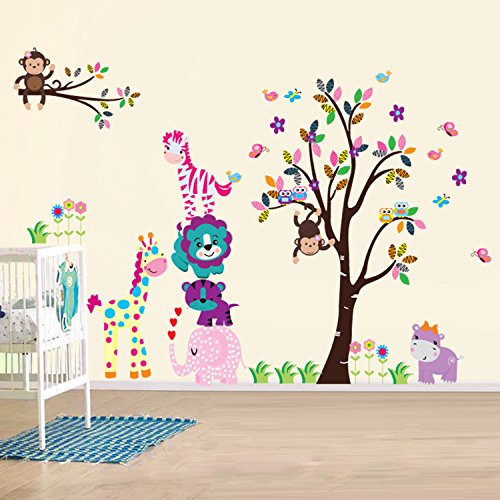 walsplus wand sticker aufkleber papier kunst dekoration fr hliche tiere baum kinderzimmer deko. Black Bedroom Furniture Sets. Home Design Ideas