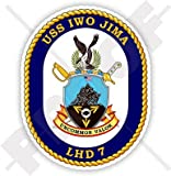 "USS Iwo Jima LHD-7 Badge, USA Amphibious Assault Ship US NAVY, American 3,7"" (95mm) Vinyl Sticker, Decal"