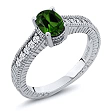 buy 1.20 Ct Oval Green Chrome Diopside White Topaz 925 Silver Engagement Ring