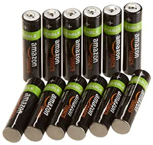 AmazonBasics AAA Pre-Charged Rechargeable Batteries 800 mAh [Pack of 12]