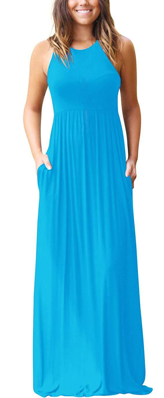 Gray Plain Casual Raceback Beach Vacation Long Maxi Dress S//M//L//XL