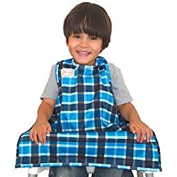 BIB-ON, A New, Full-Coverage Bib and Apron Combination for Infant to Toddler Ages 0-4+. One Size Fits All! (Blue Plaid)