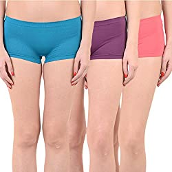 Mynte Women's Sports Shorts (MEWIWCMBP-SHR-104-103-102, Blue, Purple, Pink, Free Size, Pack of 3)