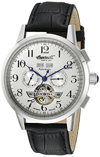 Ingersoll Unisex Automatic Watch with White Dial Analogue Display and Black Leather Strap IN4411WH