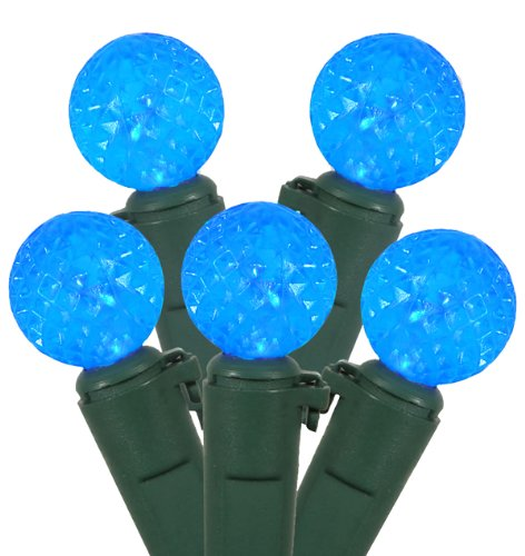 Set Of 50 Sky Blue Led G12 Berry Fashion Glow Christmas Lights - Green Wire