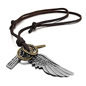 Amazon.com: Tech-moda Men's Genuine Leather Pendant Necklace Silver