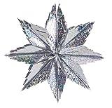 Hola - 03 de septiembre Festoni estrella holograma, de diámetro 60 cm, de plata