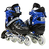 Kids Adjustable Inline Roller Blade Skates Long Feng Safe Durable Outdoor Featuring Illuminating Front Wheels Blue Small Sizes 905