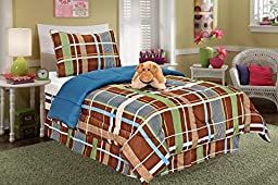 Fancy Linen Fancy Collection 3 Piece Kids/teens Stripe Blue Brown Green Doggone Design Luxury Bed-in-a-bag Comforter Set, Furry Buddy Included, Twin Size