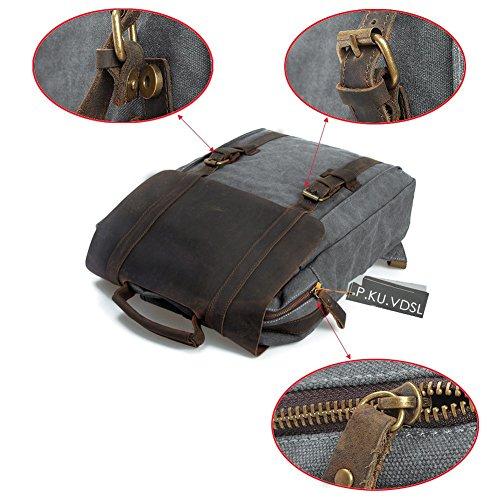 """Canvas Backpack, P.KU.VDSL Laptop Backpack, Vintage Canvas Backpack, Casual Daypacks, Retro Rucksack, Travel Bags, Genuine Leather Shoulder Bag for Men Outdoor Sports Recreation Fit 15"""" Laptop 4"""