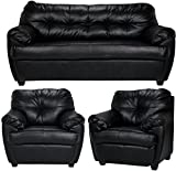 FabHomeDecor Rosabelle Five Seater Sofa 3+1+1 (Black)