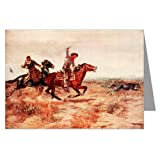 "Single Vintage Cowboy Art Greeting Card of Charles M.Russell 1890 ""Cowboy Sport Roping a Wolf"""