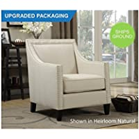 Emery Upholstered Nailhead Chair (Natural)