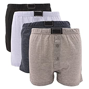 12 x BRITWEAR® Mens Button Fly Jersey Boxer Shorts Natural Cotton Rich Boxers UnderwearColour:Dark Assorted (Plain) Underwear Size:Small