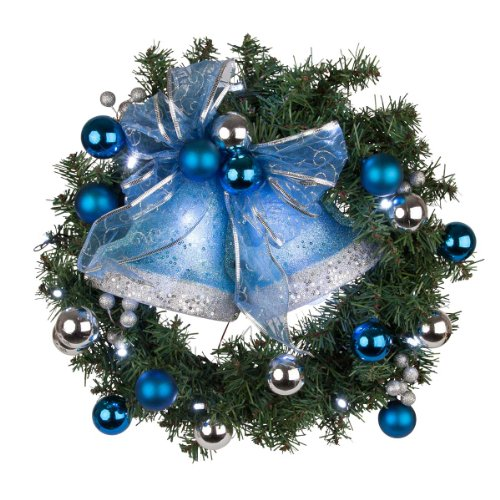 """Sterling 18"""" Battery Operated Blue Led Christmas Wreath"""