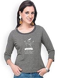 Campus Sutra Grey Women Round Neck Quarter Sleeve T-Shirt Zero (SS15MEL_RNQS_W_ZER_CH_L)
