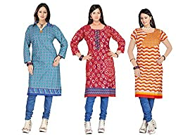 combo offer of Indian woman's Three cotton unstich Different multicolor kurti (RTS CDE 2 D 112)
