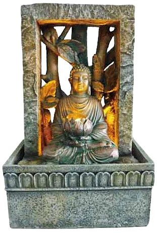 Ore International FT-1204/1L Buddha LED Tabletop Fountain, 9-Inch