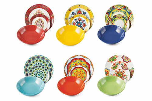 Servizio da tavola Calamoresca multicolore completo 18 pezzi in porcellana