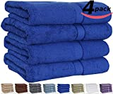 """Utopia 100% Cotton Bath Towels, Easy Care, Ringspun Cotton for Maximum Softness and Absorbency, 4-Pack - Royal blue (26"""" x 52"""")"""