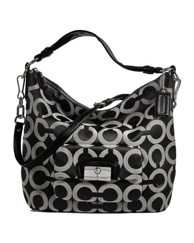 Coach Signature Op Art Kristin Large Shoulder Convertiable Hobo Bag Purse 14761 Black White