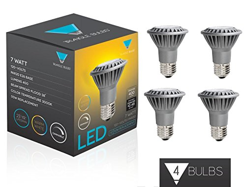 Triangle Bulbs (Pack Of 4) 7-Watt (50-Watt) Par20 Led Flood Light Bulb, Dimmable,
