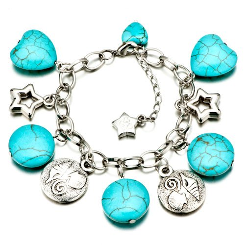 Pugster Round Turquoise Silver Dangle Bracelets Murano Glass