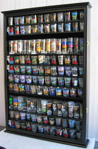 Large 144 Shot Glass Display Case Holder Cabinet Shadow Box, Hinged Door, Solid Wood, Black Finish (Plexi Display Case compare prices)