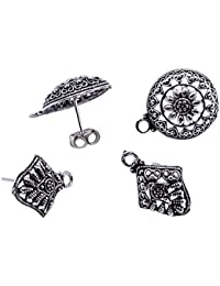 Silvesto India 4 Pcs Round And Kite Shape Stud Earrings With 4 Push Accessories Jewelry PG-19951