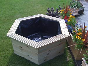 Raised Hexagon Wooden Garden Patio Water Pond 92