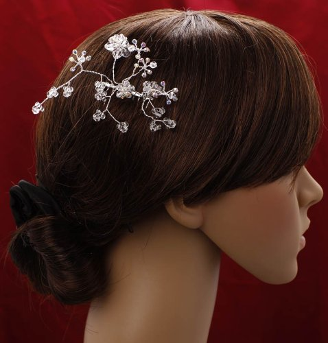 Bridal Prom Party Hair Flower Swaroski & White Pearls