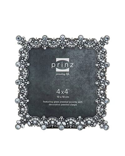 Prinz Camille Antique Pewter Square Jeweled Metal Frame, 4 x 4