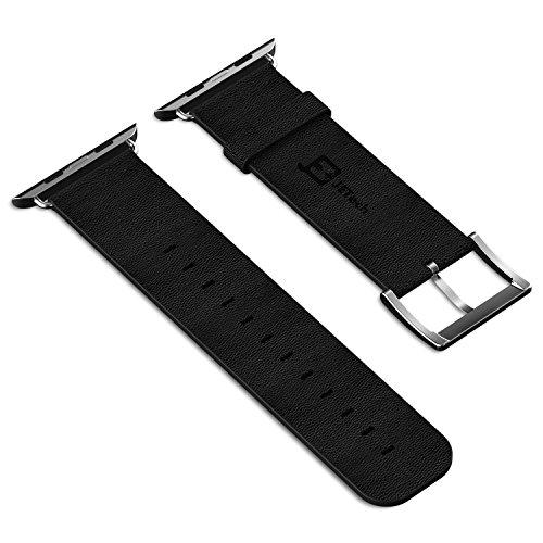Apple Watch Banda, JETech® 42mm Correa de Cuero Genuino Reemplazo de Banda de Muñeca Watch Band con Broche de Metal para Apple Watch 42mm (Cuero - Negro)