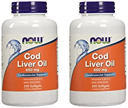 Now Foods Cod Liver Oil 2x 2500/270 A/D Soft-gels, 650 mg, 500 count