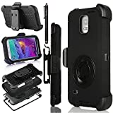 Note 4 Case, Galaxy Note 4 Case, Seaplays Shockproof Hybrid Rugged Samsung Galaxy Note 4 Case Rubber Three Layer Holster Cover Case for Samsung Galaxy Note 4 with Built-in Rotating Stand and Belt Swivel Clip + Stylus (Black)