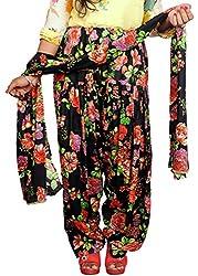 Tinnu G Women's Rayon Salwar and Dupatta Set (TGRPS1002_Black_Free Size)