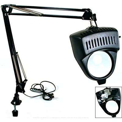 Clamp on Swing Arm Lighted Magnifying Lamp Hobby Work Desk Table Lamp Magnifier