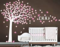 Nursery Large Cherry Blossom Flower Tree with Custom Name Art Decals Wall Sticker Vinyl Wall Decal Stickers Living Room Bed Baby Room from LKW