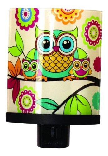 "Hoot Owl Glass Nightlight-Children'S Bedroom Nursery Decor-5.25"" High"
