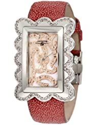 "Swisstek SK47802L Limited Edition Swiss Pink Diamond Watch With Mother-Of-Pearl Dial, Genuine Stingray ""Galuchat"" Strap And Sapphire Crystal"