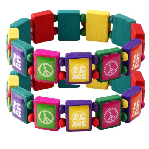 Wood Bracelet Peace on Colorful Wood Elastic - Set of 2