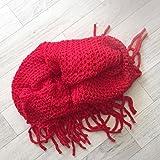 Snood grande doble con flecos, de colores rojo rojo Talla:talla única