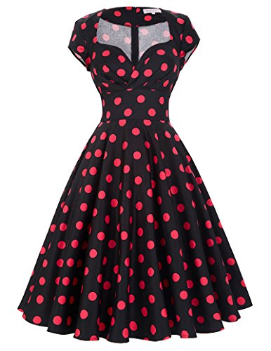Belle Poque® donne Vestito in stile anni 50 vintage floreale Wiggle Dress BP01 Floral-15 Medium